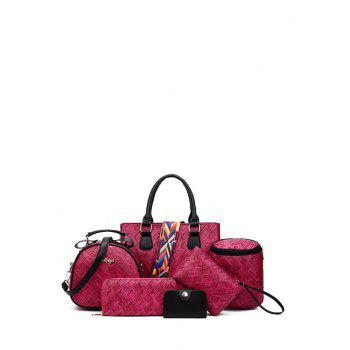 Colored Strap Letter Weaving Handbag