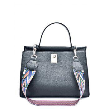 Colored Strap Metal PU Leather Handbag