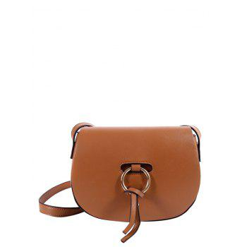 Faux Leather Metal Ring Saddle Bag