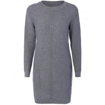 Crew  Neck Cable Knitted  Dress