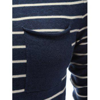 Chest Pocket Round Neck Striped Sweater - CADETBLUE L