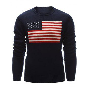 Flag Pattern Crew Neck Pullover Sweater