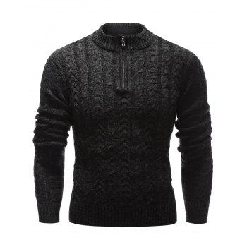 Buy Half Zip Stand Collar Cable Knit Sweater BLACK