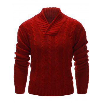 Cable Knit Rib Hem Pullover Sweater