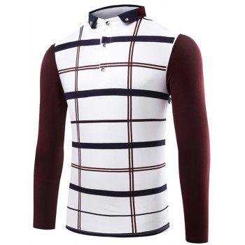 Button Up Contrast Insert Plaid Polo T-Shirt