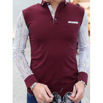Pinstriped Insert Chest Pocket Polo T-Shirt - BURGUNDY 2XL