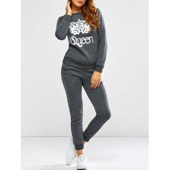 Queen Crown Pattern Sweatshirt and Pants