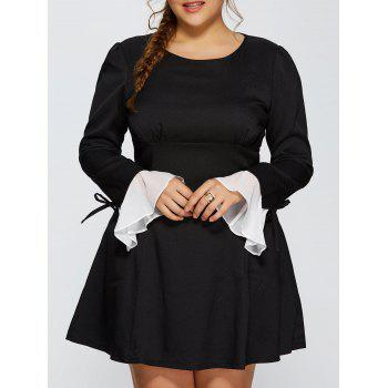 Plus Size Chiffon Cuff Insert Long Sleeve Empire Waist Skater Dress - BLACK BLACK