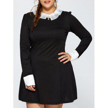 Plus Size Ruched Contrast Trim Long Sleeve Dress - BLACK BLACK