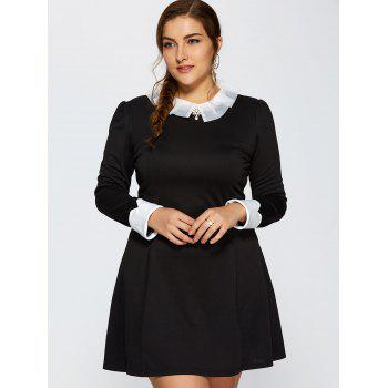 Ruched Contrast Trim Long Sleeve Dress - 3XL 3XL