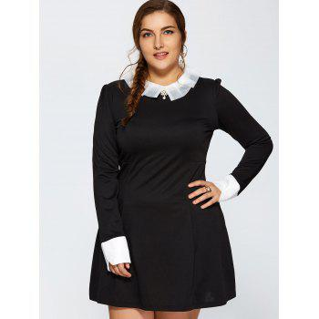 Plus Size Ruched Contrast Trim Long Sleeve Dress - 3XL 3XL