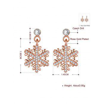 Rhinestoned Snowflake Christmas Earrings - ROSE GOLD