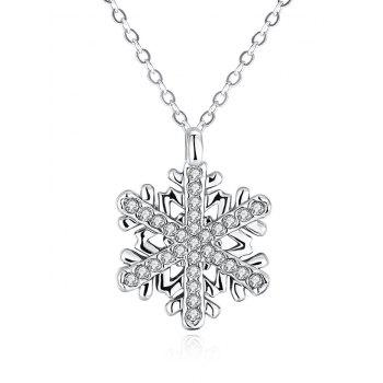 Rhinestoned Snowflake Christmas Necklace