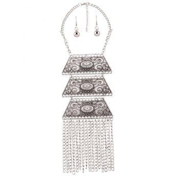 Retro Embellished Trapezoid Tassel Necklace Set