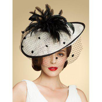 Vintage Dot Veil Feather Hat