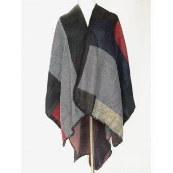 Chic Color Block Open Front Poncho