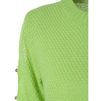 Hollowed Out Beads Embellished Sweater - CELADON L