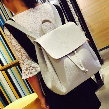 Flap Drawstring Backpack - GRAY