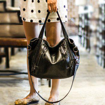 Weave Styling Faux Leather Tote Bag