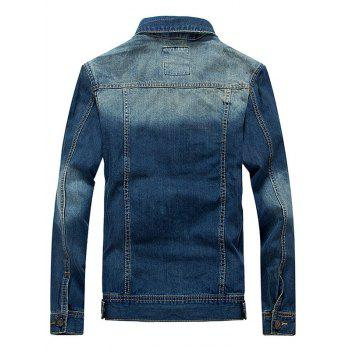 Pockets Embellished Bleach Wash Denim Jacket - BLUE L