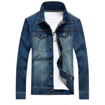 Pockets Embellished Bleach Wash Denim Jacket