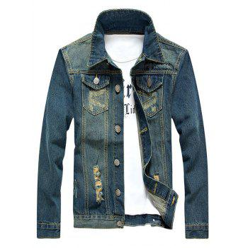 Holes and Cat's Whisker Embellished Star Applique Denim Jacket