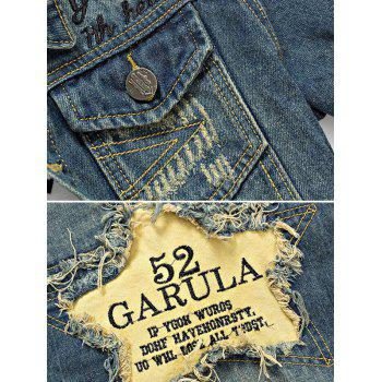 Holes and Cat's Whisker Embellished Star Applique Denim Jacket - BLUE M