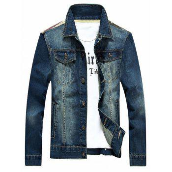 Stars and Stripes Applique Splicing Bleach Wash Denim Jacket