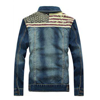 Stars and Stripes Applique Splicing Bleach Wash Denim Jacket - BLUE M