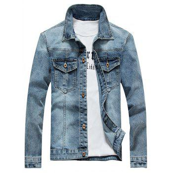 Turndown Collar Plus Size Bleach Wash Denim Jacket