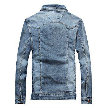 Turndown Collar Plus Size Bleach Wash Denim Jacket - LIGHT BLUE M