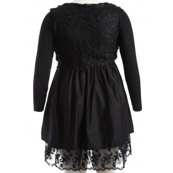 Plus Size Lace Splicing Faux Fur Knitted Dress - 3XL 3XL