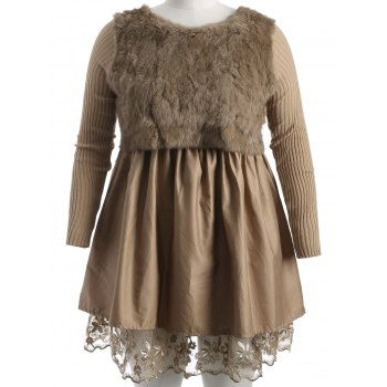 Plus Size Lace Splicing Faux Fur Knitted Dress - CAMEL CAMEL