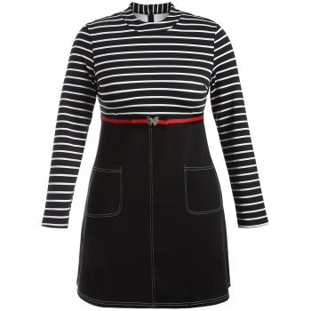 Plus Size Striped Dress with Pockets - BLACK 3XL