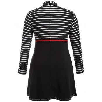 Plus Size Striped Dress with Pockets - 3XL 3XL