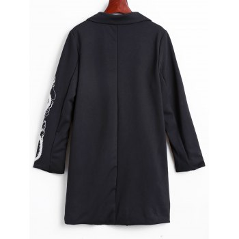 Lapel Collar Dragon Embroidered Cocoon Coat - BLACK M