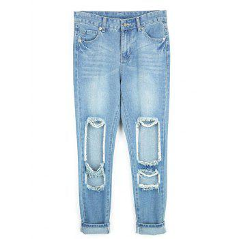 Destroyed Ripped  Pencil Jeans