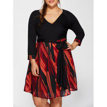 Plunging Neck Printed Plus Size Dress