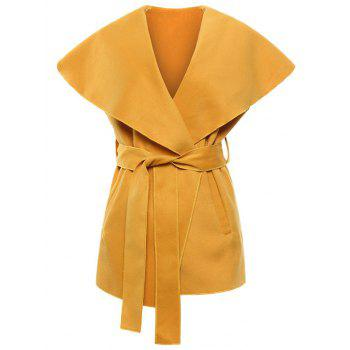 Shawl Collar Belted Wrap Waistcoat - YELLOW M