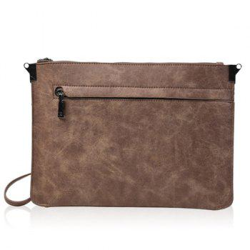 Double Zipper Metal PU Leather Clutch Bag - LIGHT COFFEE LIGHT COFFEE