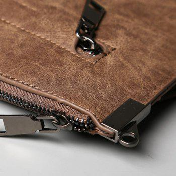 Double Zipper Metal PU Leather Clutch Bag -  LIGHT COFFEE