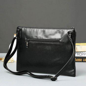 PU Leather Colour Splicing Clutch Bag -  BLACK