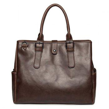 Double Pocket PU Leather Buckles Briefcase