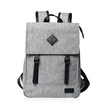 Double Buckle Splicing Colour Block Backpack - LIGHT GRAY LIGHT GRAY