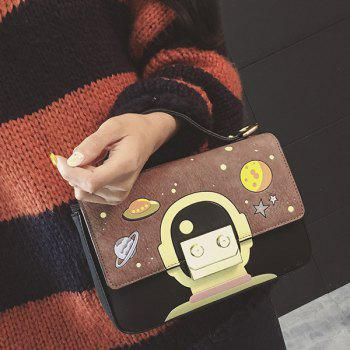 Colour Splicing Metal Universe Pattern Crossbody Bag