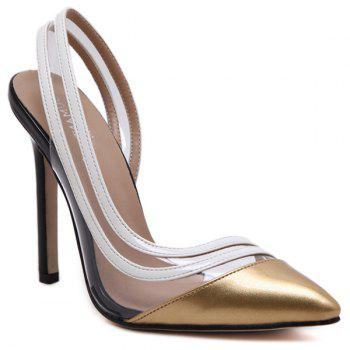 Pointed Toe Cut Out Transparent Pumps