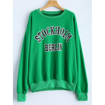 Bat-Wing Sleeve Letter Loose Sweatshirt