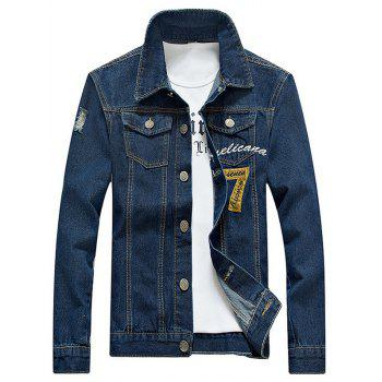 Embroidered Design Number Applique Denim Jacket