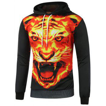 Fierce Fire Tiger Print Pullover Hoodie