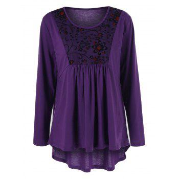 Buy Plus Size Floral Trim High Low T-Shirt PURPLE